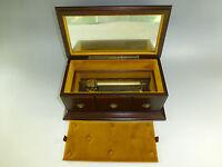 Vintage Circa 1960s Swiss Reuge Music Box 72 / 3 Custom Wooden Case Jewelry Box