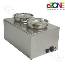 eZone Bain Marie 230V 1200W with 2x Large Round Pot 5Litre Wet Heat Food Warmer