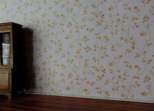 """8115 - Tapete für´s Puppenhaus """"Blumenranken Beige"""", Wallpaper, Puppenstube"""
