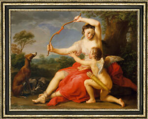 """Old Master-Art Antique Oil Painting art angel nude and dog on canvas 30""""X40"""""""
