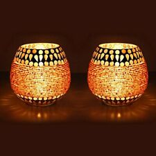 Golden Beads Crystal Decorated Mosaic Candle Holder Candle Light-Set Of 2