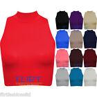 Mujer Top Corto Polo Cuello Alto Sin Mangas Camiseta 8 10 12 14 NUEVO