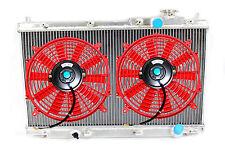 88-91 Honda Civic CRX EF HB  Full 2 Core Row Aluminum Radiator + 2x RED FANS
