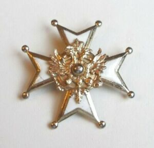 VTG Pin Signed CORO Knights Templar Cross Enamel White Etched Gold Tone AWE! 120