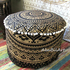 "22"" New Indian Pouf Ottoman Black Golden Printed Mandala Foot Stool Pouf Covers"