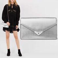 NWT 💎 Michael Kors Grace Medium Envelope Leather Clutch Crossbody Silver