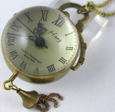 Glass Ball Skeleton Antique Bronze Mechanical Pocket Watch Steampunk Necklace