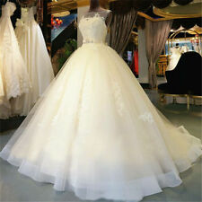 New White/Ivory Applique Ball Wedding Dress Bridal Gown Custom Plus Size 2-28