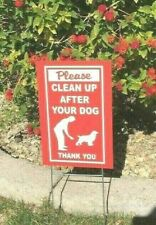 """New listing 2 Signs 2 stands Clean up After Your Dog sign 8"""" x 12"""" no dog poop sign red/wht"""