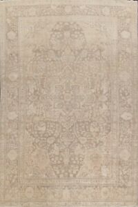 Antique Geometric MUTED Heriz Beige Brown Area Rug Hand-Knotted Living Room 8x12