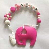 Personalized Name Silicone Teething Pacifier Clip With Elephant Silicone Teether
