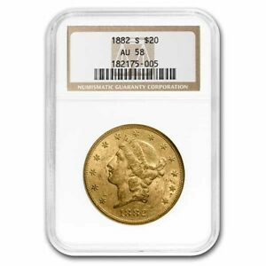 1882-S $20 Liberty Gold Double Eagle AU-58 NGC - SKU#218963