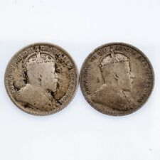 Lot of 2 Canadian 25C Coins 1905 and 1907 Fine Condition KM #11