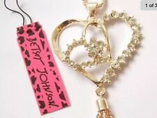 Cute NWT Betsey Johnson Necklace Crystal Gold Crystal Heart Double Dangles 300