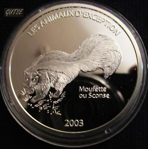 CONGO DEM. REP., 10 FRANCS 2003, SKUNK, SILVER, PROOF.