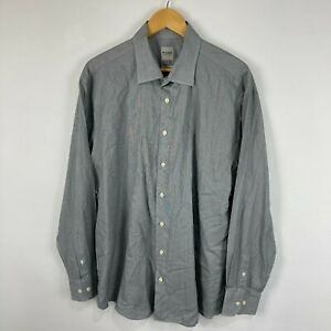 Hardy Amies Mens Button Up Shirt 46 XL Grey Long Sleeve Collared Slim Fit