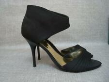DOROTHY PERKINS UK 5 BLACK SATIN CUFFED ANKLE ZIP FASTENING SANDALS