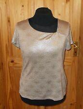 PER UNA beige taupe silver metallic short sleeve stretch tunic t-shirt top 16 44