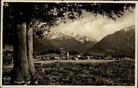 Oberstdorf Bayern s/w AK 1929 gelaufen Panorama Blick über die Stadt auf Berge