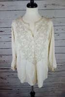 NEW Style & Co Women's Plus Size Embroidered Roll-Tab Blouse Top Ivory Sz 1X $49