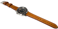 20mm Vintage Style Tan Brown Leather Watch Strap for Omega Seamaster Speedmaster