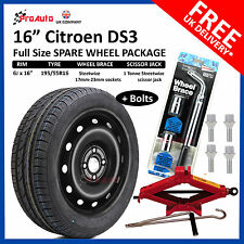 "CITROEN DS3 2008-2017 16"" FULL SIZE STEEL SPARE WHEEL & TYRE  + TOOL KIT & BOLTS"