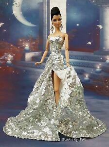 Platinum Silver Sequin Evening Dress Outfit For Silkstone Fashion Royalty FR