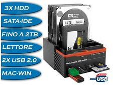 DOCKING DOCK STATION TRIPLO 3 HD HARD DISK USB 2.0 MULTIFUNZIONE CARD SATA IDE
