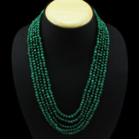 GENUINE 406.00 CTS EARTH MINED 5 LINE GREEN EMERALD BEADS NECKLACE - (DG)