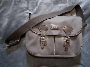 Barbour Cotton Canvas and Brown Leather Tarras Messenger Shoulder Bag