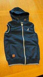 Boys KANGOL Age 11-12 year Sweatshirt Zip up Hoodie Hooded gilet Jacket Blue vgc