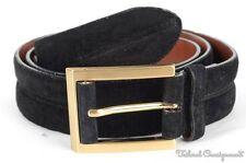 BULLOCK & JONES Black Suede Leather Gold Buckle Mens Luxury Dress Belt - 40
