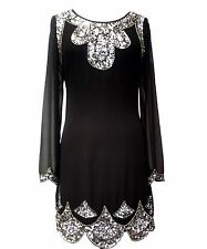 BNWT Black  Dress Tunic Top Evening 1920's Shift Dress Size 14