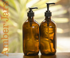 2 x 500ml Amber Glass Spray Bottle with Professional Quality Lotion Pump