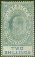 Gibraltar 1903 2s Green & Blue SG52 Good Mtd Mint (2)
