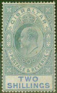 Gibraltar 1903 2s Green & Blue SG52 Good Mtd Mint (2)