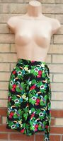 G21 BLACK GREEN PARROT TROPICAL FLORAL BELTED CULOTTE BAGGY SHORTS HOT PANTS 12