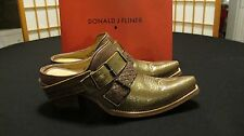 "DONALD J PLINER BRONZE 2 BUCKLE 2"" HEEL CARYA LEATHER CLOGS SIZE 8 NWB"
