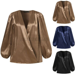 UK Womens Satin V-neck Long Sleeve Blouse Pullover Ladies Casual OL T-shirt Tops