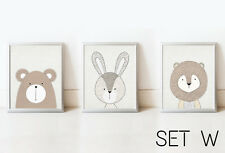 SET Bear Rabbit Lion Nursery Decor Wall Art Kids Print Animals Picture Baby Room