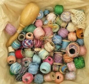 Lot of Vintage Tatting Crochet Threads Cool Variety Used With Darning Egg