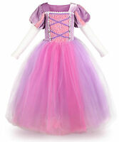 Princess Rapunzel Dress Girls Costume Mesh Long Sleeves Halloween Party Dress
