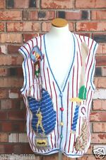 Baseball Theme Ugly Sweater Design Options Vest Stripe Red White Blue Jays Large