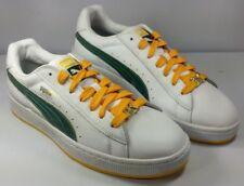 Puma Men's Basket Leather Sneakers White w Green & Yellow Mint! Size 9 ½ EUR 44