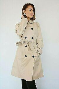 New Women Ex TU Beige Stone Gaberdine Belted Pocket Lined Trench Coat Size 10-12