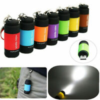 New USB LED Rechargeable Flashlight Lamp Pocket Key Chain Waterproof Mini Torch