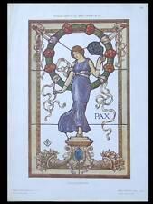 VITRAIL ART NOUVEAU -1910- LITHOGRAPHIE, BELTRAMI, FEMME