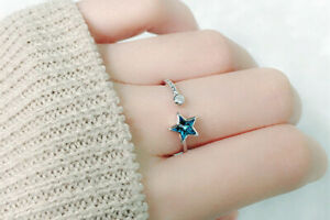 STAR AND CRYSTALS  925 THAI STERLING  SILVER ADJUSTABLE RING WITH GIFT BAG