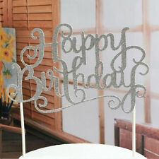 Gold Silver Cake Topper Happy Birthday Party Supplies Decorations Fashion Good