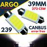 39mm 239 272 Led Festoon C5w Light Bulbs Xenon White Number Plate Interior 12v